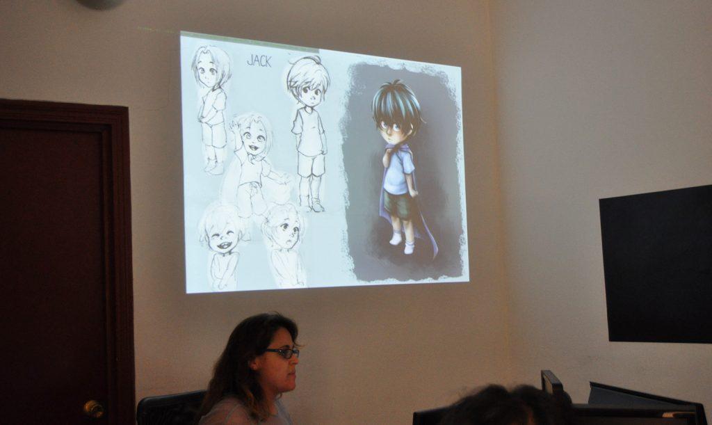 Ána Vélez presentando a Jack, uno de los personajes del juego